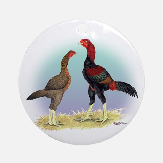 Malay Rooster and Hen Ornament (Round)