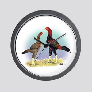 Malay Rooster and Hen Wall Clock