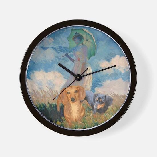 Walk Doxies Wall Clock