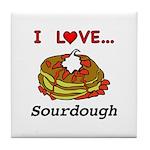 I Love Sourdough Tile Coaster