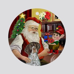 Santa & His German SH Pointer Ornament (Round)