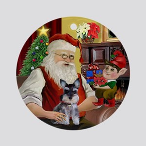 Santa's Mini Schnauzer Ornament (Round)