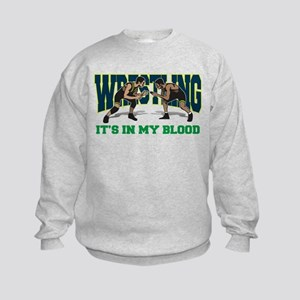 Wrestling It's In My Blood Kids Sweatshirt