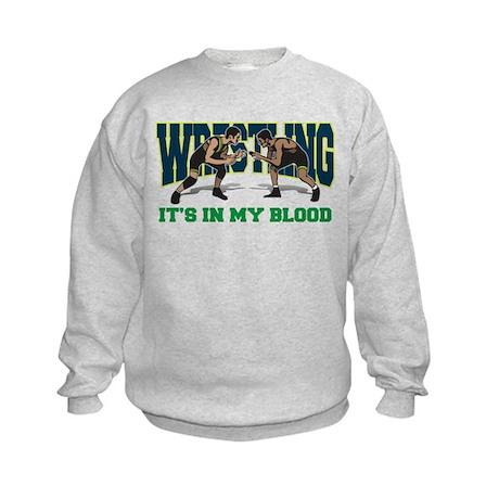 Wrestling It's In My Blood Kids Sweatshirt