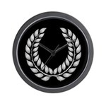 Black with Silver laurel Wall Clock