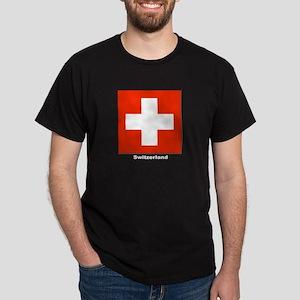 Switzerland Swiss Flag (Front) Black T-Shirt