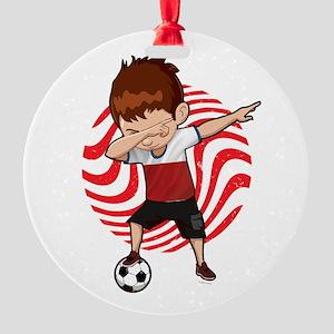 Football Dab Poland Poles Footballe Round Ornament