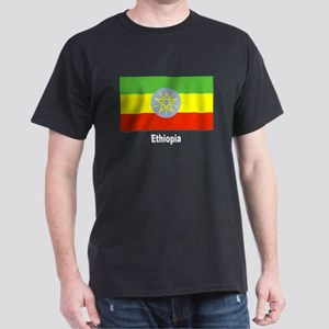 Ethiopia Flag (Front) Black T-Shirt