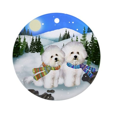Bichon Frise Dogs Winter Ornament (Round)