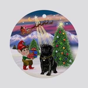 Black Pug Christmas Tree Ornament (Round)