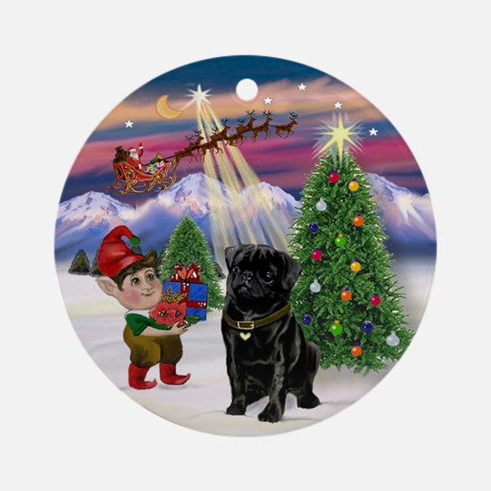 Black Pug Christmas Tree Ornament (Round)