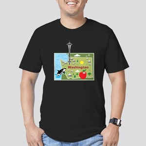 Washington Map Men's Fitted T-Shirt (dark)
