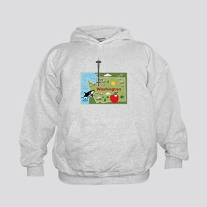Washington Map Kids Hoodie