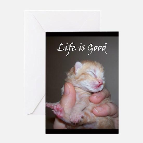 Life is Good Kitten Greeting Card