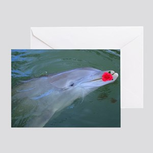 Dolphin with Flower Greeting Card