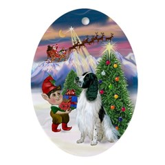English Springer Spaniel Xmas Tree Oval Ornament