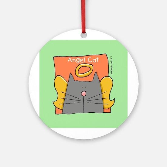 Gray Cat Angel Ornament (Round)