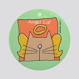 tan Cat Angel Ornament (Round)