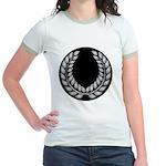 Black with Silver laurel Jr. Ringer T-Shirt