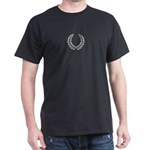 Black with Silver laurel Black T-Shirt
