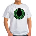 Black with Green laurel Ash Grey T-Shirt