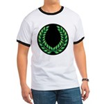 Black with Green laurel Ringer T