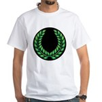 Black with Green laurel White T-Shirt