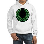 Black with Green laurel Hooded Sweatshirt