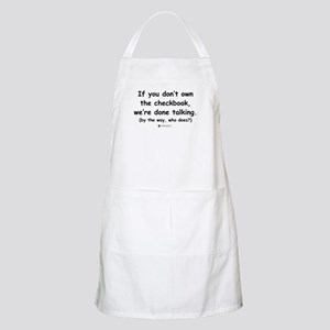Who owns the checkbook? BBQ Apron