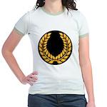 Black with Gold laurel Jr. Ringer T-Shirt