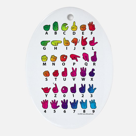 RBW Fingerspelled ABC Ornament (Oval)