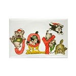 Cartoon kitten cats Christmas Rectangle Magnet