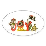 Cartoon kitten cats Christmas Oval Sticker