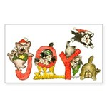 Cartoon kitten cats Christmas Sticker (Rectangular
