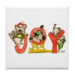 Cartoon kitten cats Christmas Tile Coaster