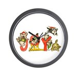 Cartoon kitten cats Christmas Wall Clock