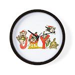 Cartoon kitten cats Christmas Wall Clock