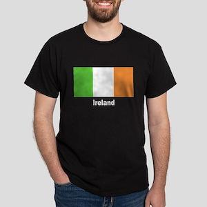 Ireland Irish Flag (Front) Black T-Shirt