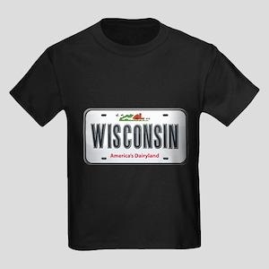 Wisconsin Plate Kids Dark T-Shirt