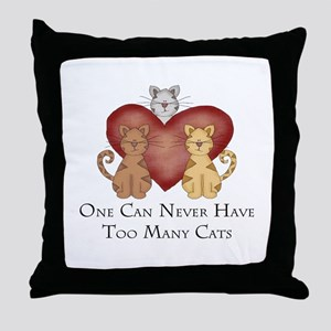 Too Many Cats Throw Pillow