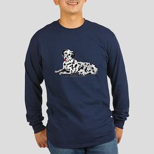 Cartoon Dalmatian Long Sleeve Dark T-Shirt