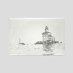 Christmas Toledo Harbor Light & Ship Rectangle Mag
