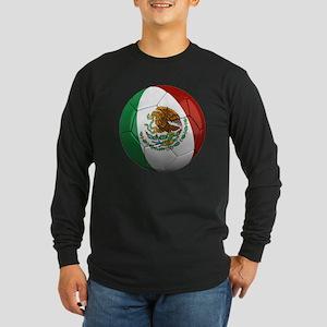 Mexico Soccer Ball Long Sleeve Dark T-Shirt