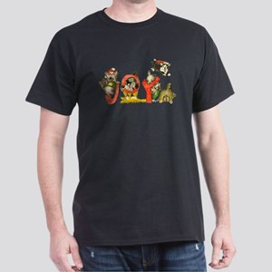 Cartoon kitten cats Christmas Black T-Shirt