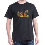 Cartoon kitten cats Christmas Black T-Shirt