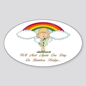 Rainbow Bridge (dog) Oval Sticker