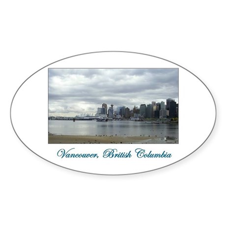 Downtown Vancouver BC Oval Sticker (50 pk)