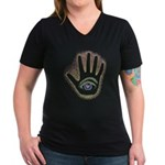 Rainbow Petro EyeHand Women's V-Neck Dark T-Shirt
