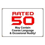 Funny 50th Gifts, Rated 50 Banner