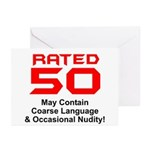 Funny 50th Gifts, Rated 50 Greeting Cards (Pk of 2